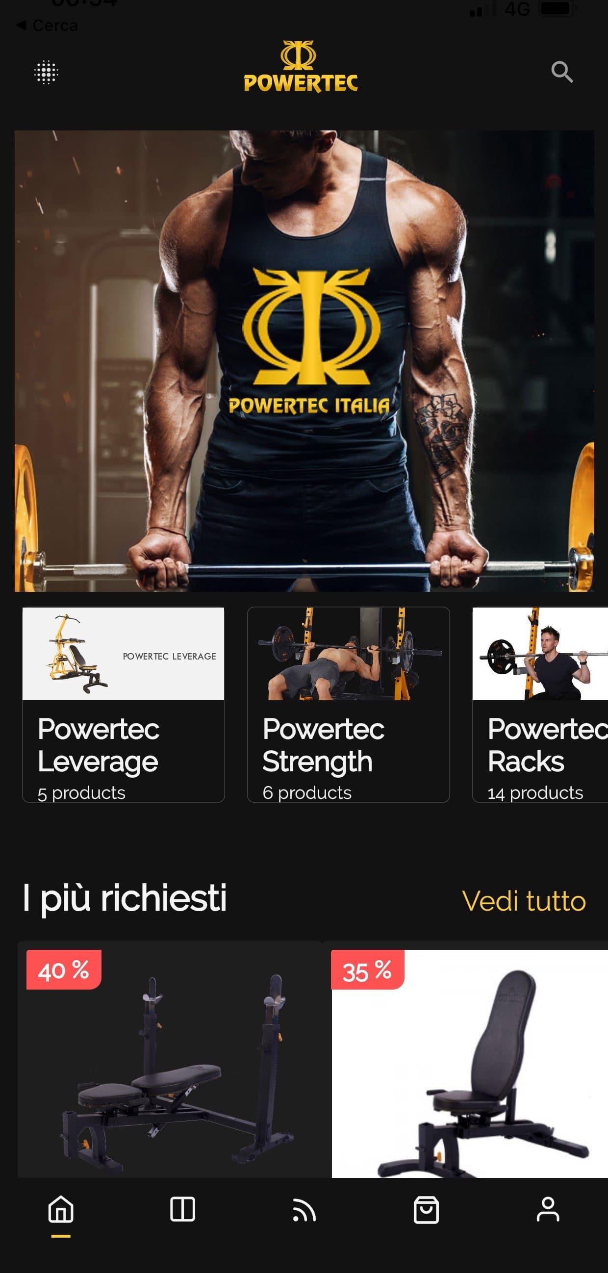 app e-commerce per attrezzi sportivi